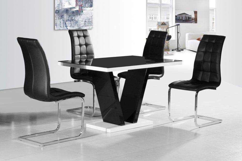 GA Vico BLG White Black Gloss & Gloss Designer 120 cm Dining Set & 4 Black / White Chairs